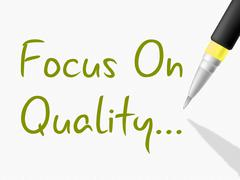 focus on quality showing excellent approve and perfection - stock illustration
