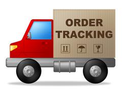 Order tracking indicating post logistic and trackable Stock Illustration