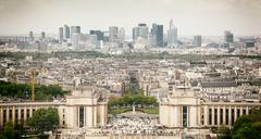 Panorama of paris, the trocadero and la defense. Stock Photos