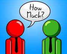 How much showing asking price and fee Stock Illustration