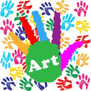 Art handprint representing kids youngsters and spectrum Stock Illustration