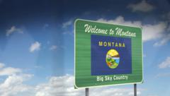 Montana State Highway Sign Drive-by - stock footage