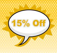 fifteen percent off meaning promotional discounts and cheap - stock illustration