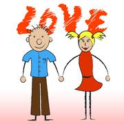Stock Illustration of love couple showing compassionate affection and boyfriend