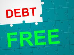 Debt free indicating debit card and indebtedness Piirros