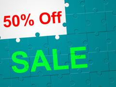 Stock Illustration of fifty percent off showing discount reduction and sales