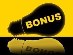 Bonus lightbulb meaning award reward and gratis Stock Illustration