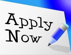 Apply now indicating application hire and register Stock Illustration