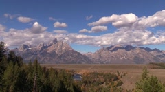 time lapse clouds over grand teton ansel adams overlook - stock footage