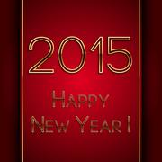 Vector rectangle red greeting new year 2015 postcard with golden letters - stock illustration