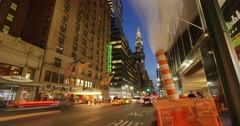 Traffic street Manhattan night steam from pipe New York City NYC 4K Timelapse. - stock footage
