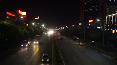Shenzhen, China: 107 National Road in the night traffic Stock Footage