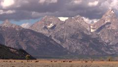 Plane arrives jackson wyoming with grand teton Stock Footage