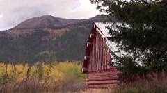 Red barn against grand teton Stock Footage