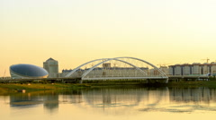 Bridge on the River Ishim, Sunset. Astana, Kazakhstan. 1280x720 Stock Footage