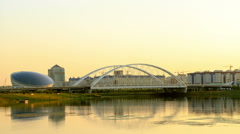 Bridge on the River Ishim, Sunset. Astana, Kazakhstan Stock Footage