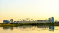 Sunset over the river. Astana, Kazakhstan. 1280x720 Stock Footage