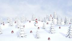New Year trees, snowmen and gifts with falling snowflakes Stock Footage