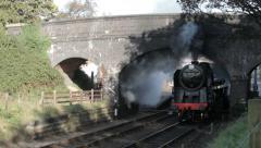 Steam Engine starting up under a bridge Stock Footage
