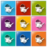 Buttons with a pail and a fork - stock illustration