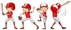 A sketch of the baseball players in red uniform - stock illustration