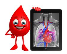 Blood drop character with heart anatomy Stock Illustration