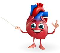 Heart character with pointing Stock Illustration