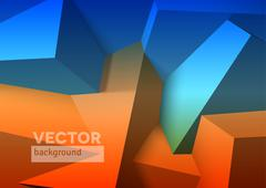 Abstract background with overlapping blue and orange cubes - stock illustration
