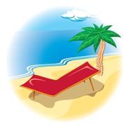 Tropical coast with deck chair Stock Illustration