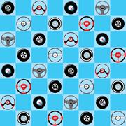 Automotive childish wallpaper with steering wheels Stock Illustration