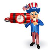 Uncle sam with time bomb Stock Illustration
