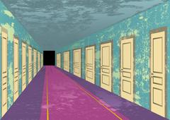 Stock Illustration of Grungy abandoned hotel hall