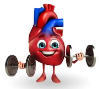 Heart character with dumbbells Stock Illustration