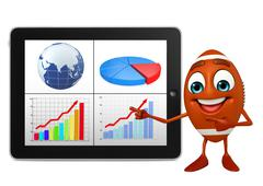 rubgy ball character with tab - stock illustration