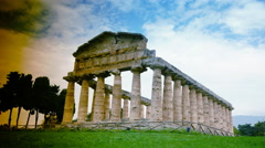 Archaeological ruins of Paestum, Italy, time lapse,4k Stock Footage