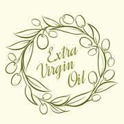 Olive label Stock Illustration