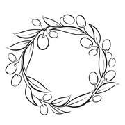 Olive wreath frame. Stock Illustration