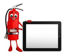 Stock Illustration of fire extinguisher character with tab