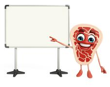 meat steak character with sign board - stock illustration