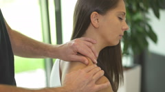 Neck massage therapy Stock Footage