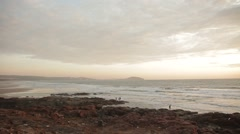 Quiet surf in the picturesque landscape. Waves, beautiful bay and endless sky. Stock Footage