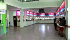 Ticket hall of new bus station Stock Footage