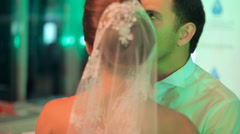 Young bride and groom dance their wedding dance Stock Footage