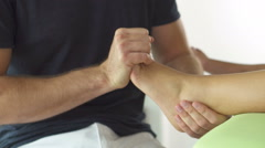 Detail physiotherapy of foot Stock Footage
