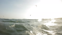 Wonderful sea wave breaking on the camera in a thousand sea spray. - stock footage
