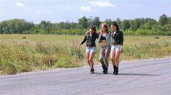Girls dance on a street  Stock Footage