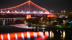 Night to day TL Brisbane Story bridge 7 hours in 19 secs 4K Stock Footage