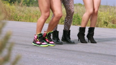 Girls dance on a street  - stock footage