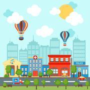 City scape background - stock illustration