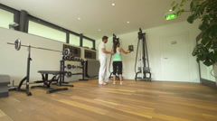 Trainings lesson in gym wideangle view Stock Footage
